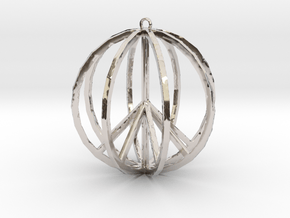 Global Peace Pendant deSign in Rhodium Plated Brass