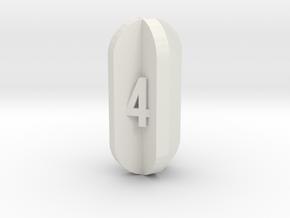 Radial Fin Dice in White Natural Versatile Plastic: d4