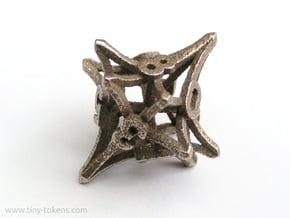 'Radial' D10 balanced gaming die in Polished Bronzed Silver Steel