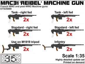 ETS35009 Reibel Machine Gun - 6 types, 2 of each in Smooth Fine Detail Plastic