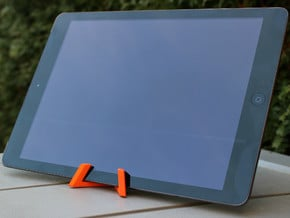 Universal Tablet + Smartphone Stand in Orange Processed Versatile Plastic