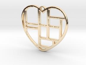 Mondrian Heart in 14K Yellow Gold