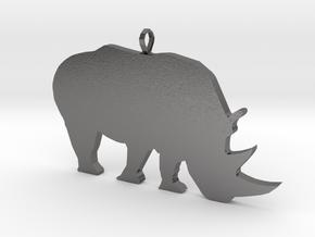 Rhino Silhouette Pendant in Polished Nickel Steel