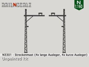8x Streckenmast (Oberleitung Epoche I - N 1:160) in Smooth Fine Detail Plastic