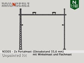 2x Portalmast (Oberleitung Epoche I - N 1:160) in Smooth Fine Detail Plastic