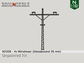 4x Mittelmast (Oberleitung Epoche I - N 1:160) in Smooth Fine Detail Plastic