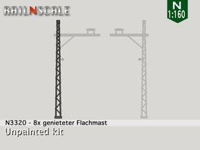 8x genieteter Flachmast (Epoche I - N 1:160) in Smooth Fine Detail Plastic