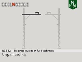 8x lange Ausleger für Flachmast (N 1:160) in Smooth Fine Detail Plastic