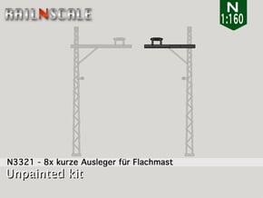 8x kurze Ausleger für Flachmast (N 1:160) in Smooth Fine Detail Plastic