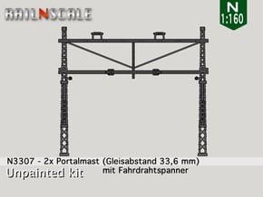 2x Portalmast mit Spanner (Oberleitung N 1:160) in Smooth Fine Detail Plastic