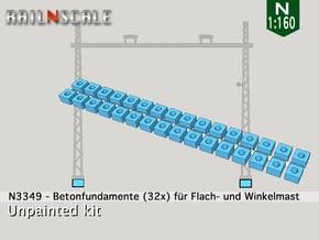 32x Betonfundamente (Oberleitung N 1:160) in White Natural Versatile Plastic