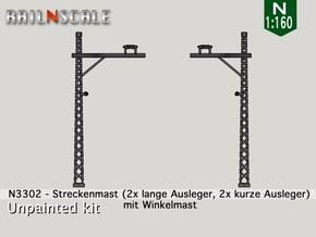 4x Streckenmast (Oberleitung Epoche I - N 1:160) in Smooth Fine Detail Plastic