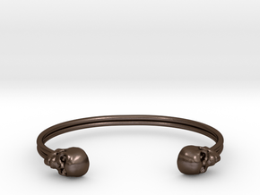 Double Banded Skull Cuff in Polished Bronze Steel: Small