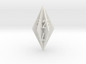 Radial Fin Dice in White Natural Versatile Plastic: d12