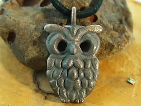 Smiley Owl Pendant in Polished and Bronzed Black Steel