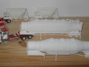 S-scale 1/64 Shorty Dry Bulk Trailer 07a - no axle in White Natural Versatile Plastic