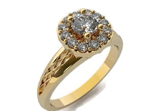 Cushion Halo Engagement Ring in 14K Yellow Gold