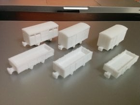 Six Freight cars (Nm/Nn3) in White Natural Versatile Plastic