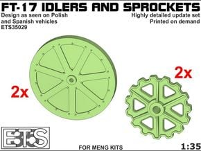 ETS35029 - FT17 - Idlers & Sprockets [1:35] in Smooth Fine Detail Plastic