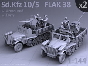 Sd.Kfz 10/5  FLAK 38  (2 pack) in Smooth Fine Detail Plastic