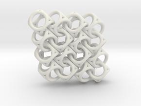 Spherical Cuboid Pattern Design in White Natural Versatile Plastic