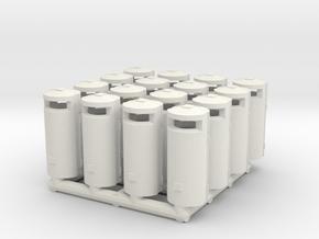 Trashbin 02. HO Scale (1:87) in White Natural Versatile Plastic