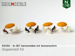 4x SET Gartenmöbel mit Sonnenschirm (N 1:160) in Smoothest Fine Detail Plastic