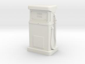 35mm Gauge - 1980's Petrol Pump in White Natural Versatile Plastic