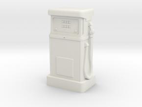 N Gauge - 1980's Petrol Pump in White Natural Versatile Plastic