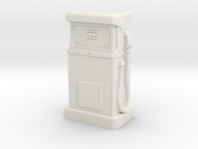 TT Gauge - 1980's Petrol Pump in White Natural Versatile Plastic