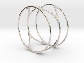 Thin bracelet - 67mm diameter in Rhodium Plated Brass