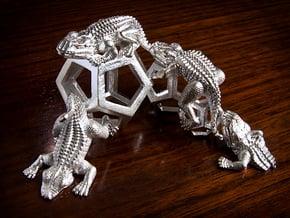 Reptiles & Dodecahedra mini sculpture Fine Art top in Natural Silver