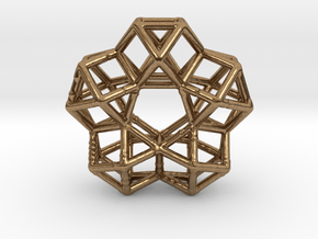 Vector Equilibrium Circle 40mm 5 cuboctahedrons in Natural Brass