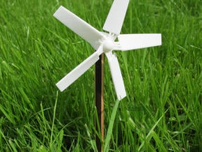 Chopstick Windmill - Western 5 blades in White Natural Versatile Plastic