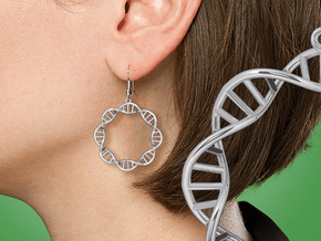 Earring DNA in Fine Detail Polished Silver