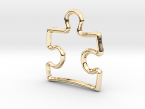 Puzzle Pendant/Charm - 16mm in 14K Yellow Gold