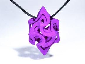 Flame Rhomb Pendant in Purple Processed Versatile Plastic