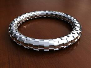 Bangle Bracelet - Checkerboard Pattern in White Natural Versatile Plastic