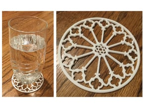 "3-1/4"" Coaster 1 (open) in White Processed Versatile Plastic"