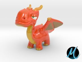 Dragon Sculpture - Fire Drake in Glossy Full Color Sandstone