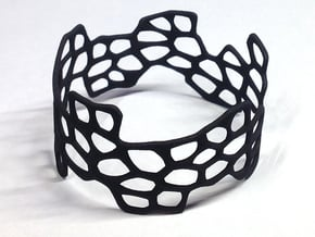 Cells Bracelet (open, 64mm) in Black Natural Versatile Plastic
