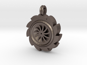 Saw Blade Pendant in Polished Bronzed Silver Steel