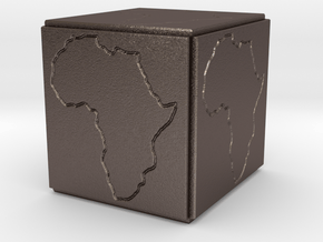 Paperweight Africa in Polished Bronzed Silver Steel