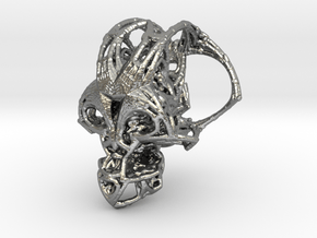 Fractal Cranium Silver 25mm in Natural Silver