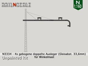 4x gebogene doppelte Ausleger für Winkelmast (N) in Smooth Fine Detail Plastic