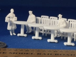 5 Round Tables and 20 Chairs HO Scale in White Natural Versatile Plastic