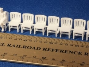 HO SCALE Simple Chairs (x10) in White Natural Versatile Plastic