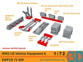WW2 US Vehicle Equipment A 1/72 scale SWFUD-72-009 in Smooth Fine Detail Plastic