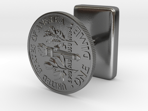 DimeCufflink in Polished Silver
