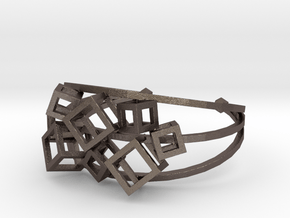 Cube Cuff in Polished Bronzed Silver Steel